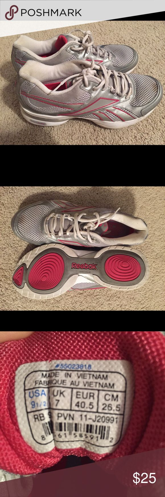 Reebok EasyTone tennis shoes Size 9.5. Barely used. Meant to tone legs just by walking with the EasyTone technology. Small stain on front of right shoe, may come out in the wash. Reebok Shoes Athletic Shoes