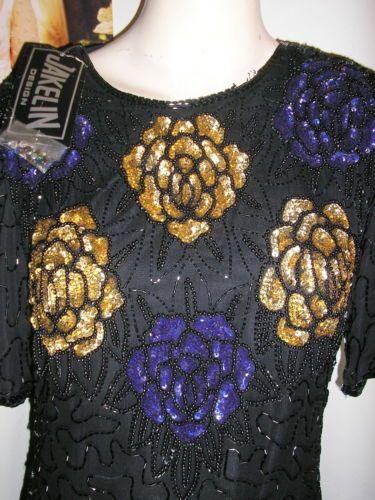 80-svintage-BLACK-SILK-sequinned-DRESS-Oro-Viola-12-ottime-condizioni