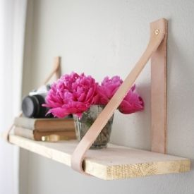 Wood & Leather Suspended Shelf. DIY