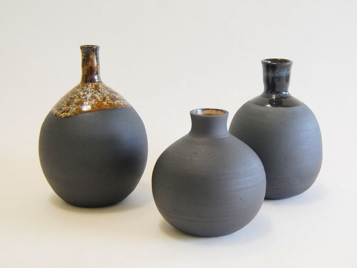 Bottles made with Aardvark Clay's Cassius Basaltic. I left the outside mostly unglazed.