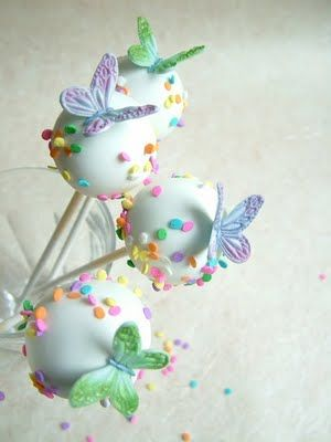 White Cake Pops with Pastel Sprinkles and Green & Lavender Butterflies