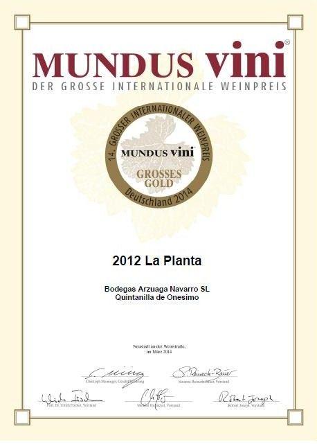 Medalla de oro Mundus Vini a LA PLANTA 2012 de Bodegas Arzuaga Navarro