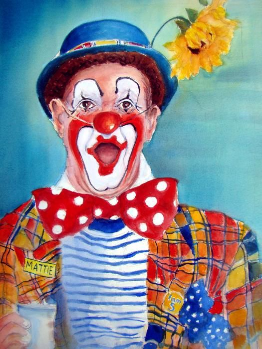 Mattie The Clown by Myra Evans - Mattie The Clown Painting - Mattie The Clown Fine Art Prints and Posters for Sale