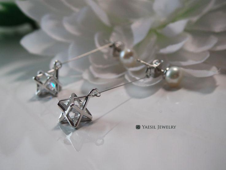 Floating 3D Star Earrings, Pearl Stud Earrings, Star Dangle Earrings, Quality…
