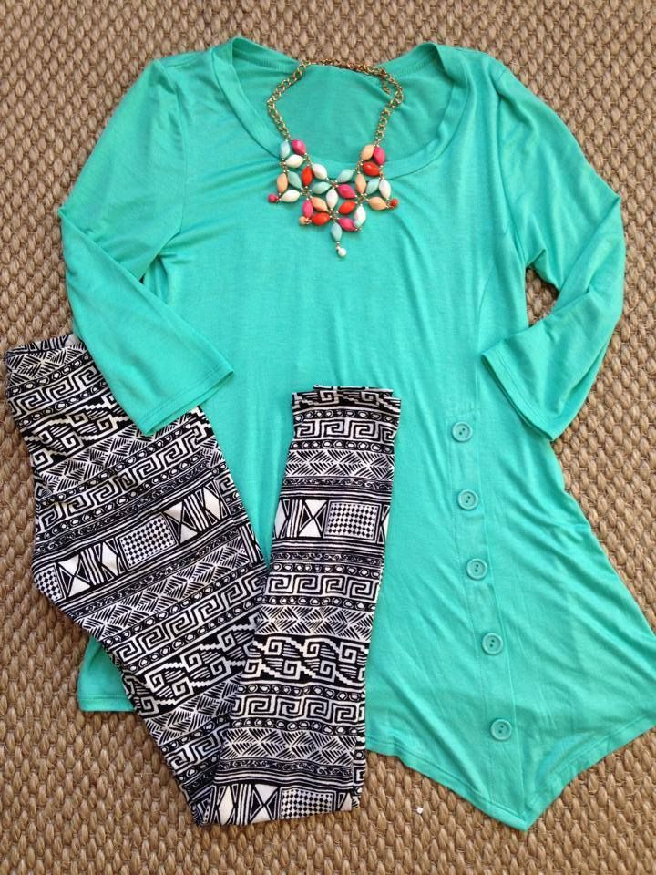 Black Aztec Print Leggings Teal Hi Low Side Button Tunic Winter Outfit Summer outfit www.facebook.com/thinkpinkboutique1
