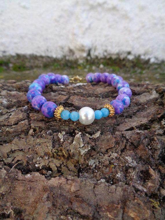 Royal purple OOAK friendship bracelet / Bohemian bracelet / Summer bracelet/ Semiprecious bracelet / Beaded bracelet / Ethnic bracelet