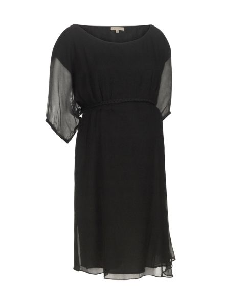 """WHY WE LOVE THIS BLOSSOM MATERNITY GEORGETTE DRESS - TARA; This gorgeous Blossom maternity dress with scoop neck, plaited waist tie and lightweight chiffon over fabric makes the perfect """"little black dress"""" for the party season. #wonderfulchristmas"""
