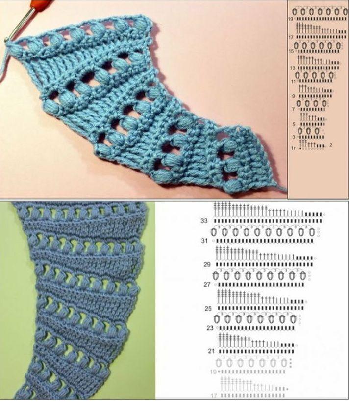 804 melhores imagens sobre ganchillo esquemas crochet - Esquema punto estrella crochet ...