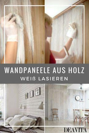 Wandpaneele aus Holz können Sie mit weißer Tünc…
