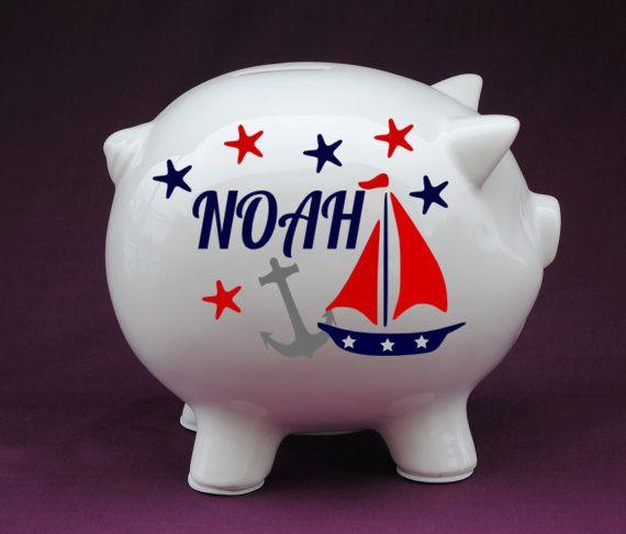 37 best piggy banks images on pinterest personalized piggy bank piggy banks and vinyl decals - Nautical piggy banks ...