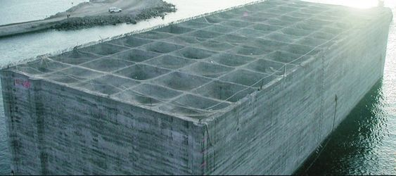 Concrete honeycomb wharf structure, float out, http://yook3.com, Wilfried Ellmer