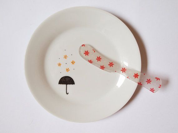Yellow rain plate by ZuppaAtelier on Etsy, $18.90