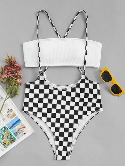 2f28b9d5ab Bandeau Top With Checkered Suspender Two Piece Swim [swimwear180914602] -  $26.00 : moonbaye.com