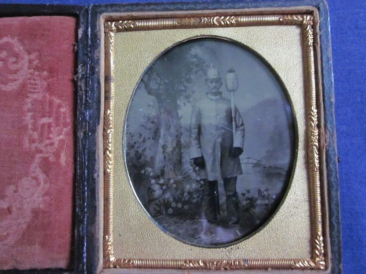 1/6 Tintype Of Fireman In Uniform Holding Some Type Of Fire Equipment Full Case