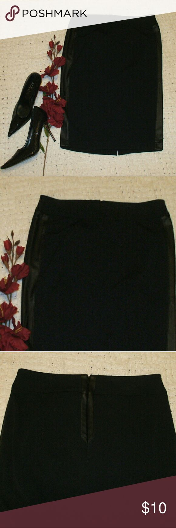 Black Pencil Skirt w/ Faux Leather Pencil skirt - Black with matching faux leather tuxedo stripes - 96% polyester, 4% spandex - Brand new with store tags - smoking home Bisou Bisou Skirts Pencil