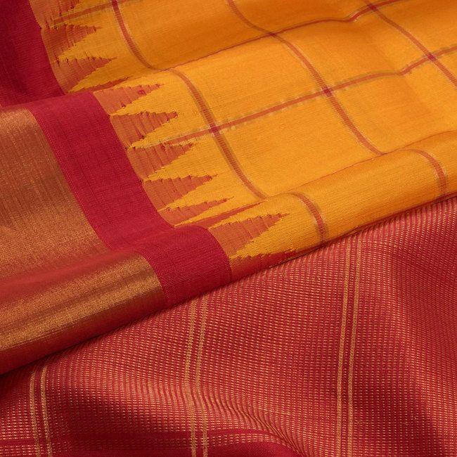 Handwoven Gadwal Kuttu Silk Saree With Checks & Temple Border 10023166 - closeup... 8