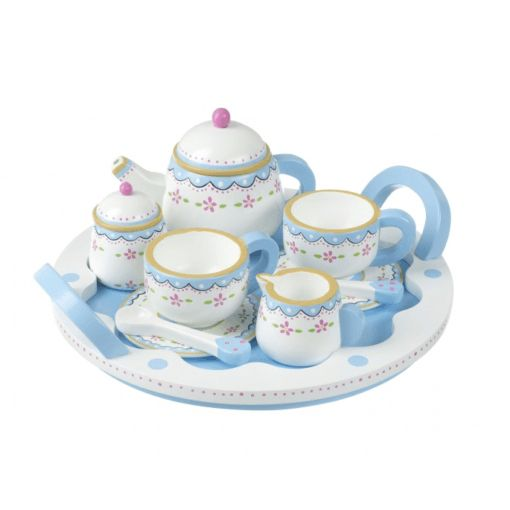 A beautifully painted wooden tea set.  Perfect for any budding hostess.