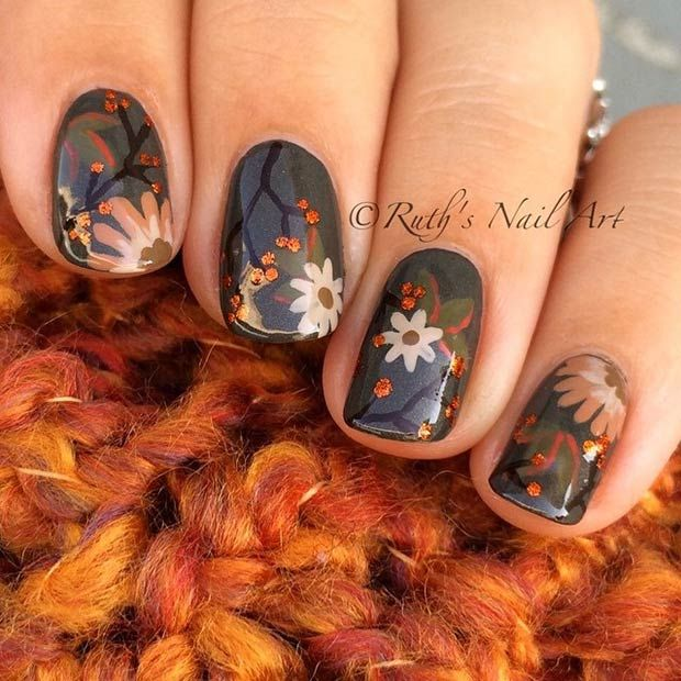 Fall Flowers Nail Design