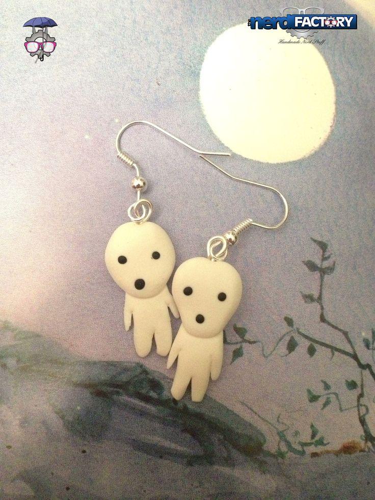 Kodama earrings, hand-made!