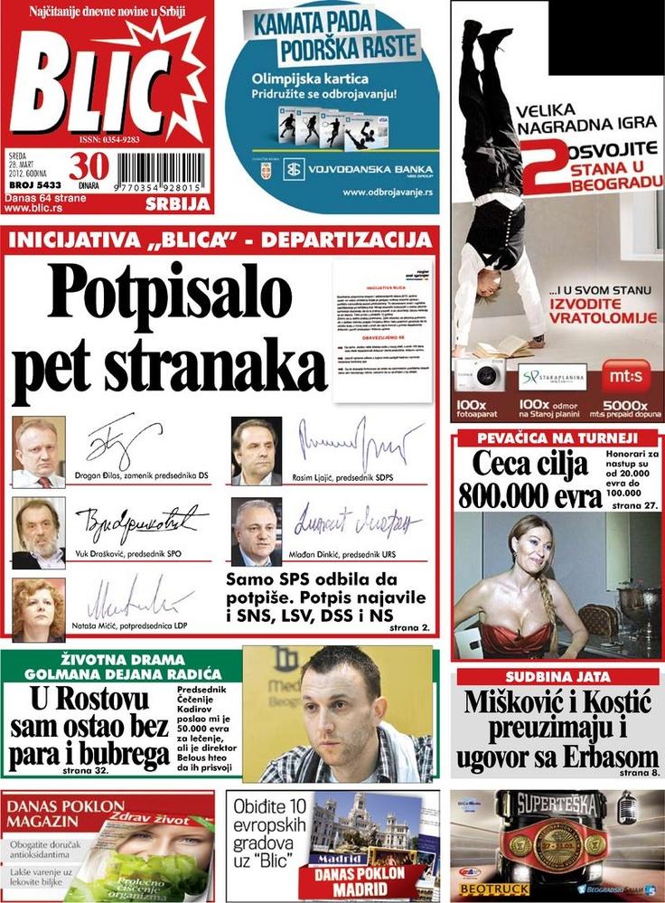 """Naslovna strana """"Blica"""" za 28. mart 2012. Print"""