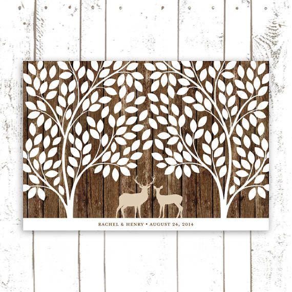 Guest Book Tree with Deer  Wedding Guest Book by MooseberryPaperCo