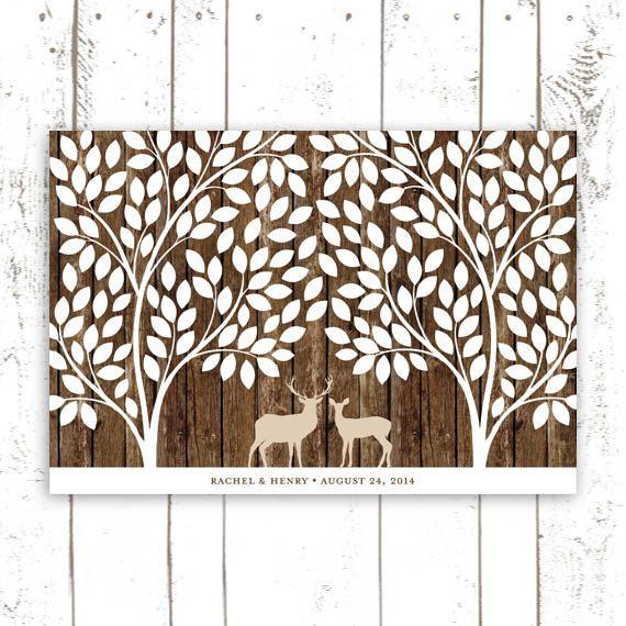 Guest Book Tree with Deer  Wedding Guest by MooseberryPrintShop, $64.00