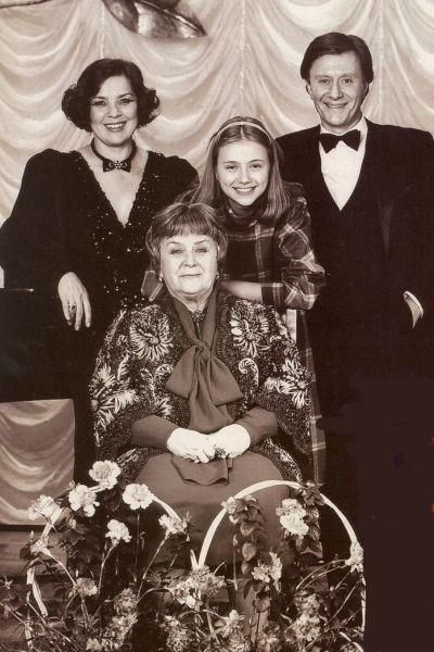sitting - the great Russian actress Maria Mironova, stand - her son, actor Andrei Mironov, daughter-in-law actress Larisa Golubkina  and Maria Golubkina