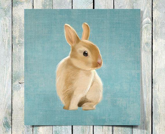 Un petit lapin sur fond bleu clair rustique art 10 x par SparaFuori, $30.00