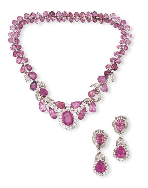 Suite Of Pink Tourmaline And Diamond Jewelry By David Webb, Comprising Of A Necklace, Designed As Pear And Heart-Shaped Pink Tourmaline Foliate Clusters, Centering Upon A Large Oval Shaped Pink Tourmaline With Circular-Cut Diamond Detail, Also Two Bracelets And A Pair Of Ear Pendants, Mounted In Platinum