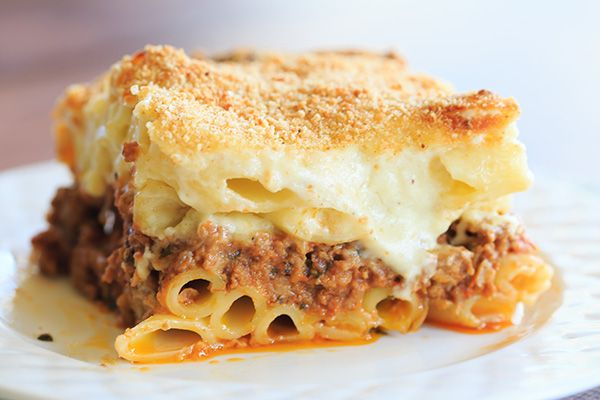 A classic pastitsio recipe - layers of ziti pasta with a beef and lamb sauce, bechamel and loads of cheese! | http://www.browneyedbaker.com/pastitsio-recipe/