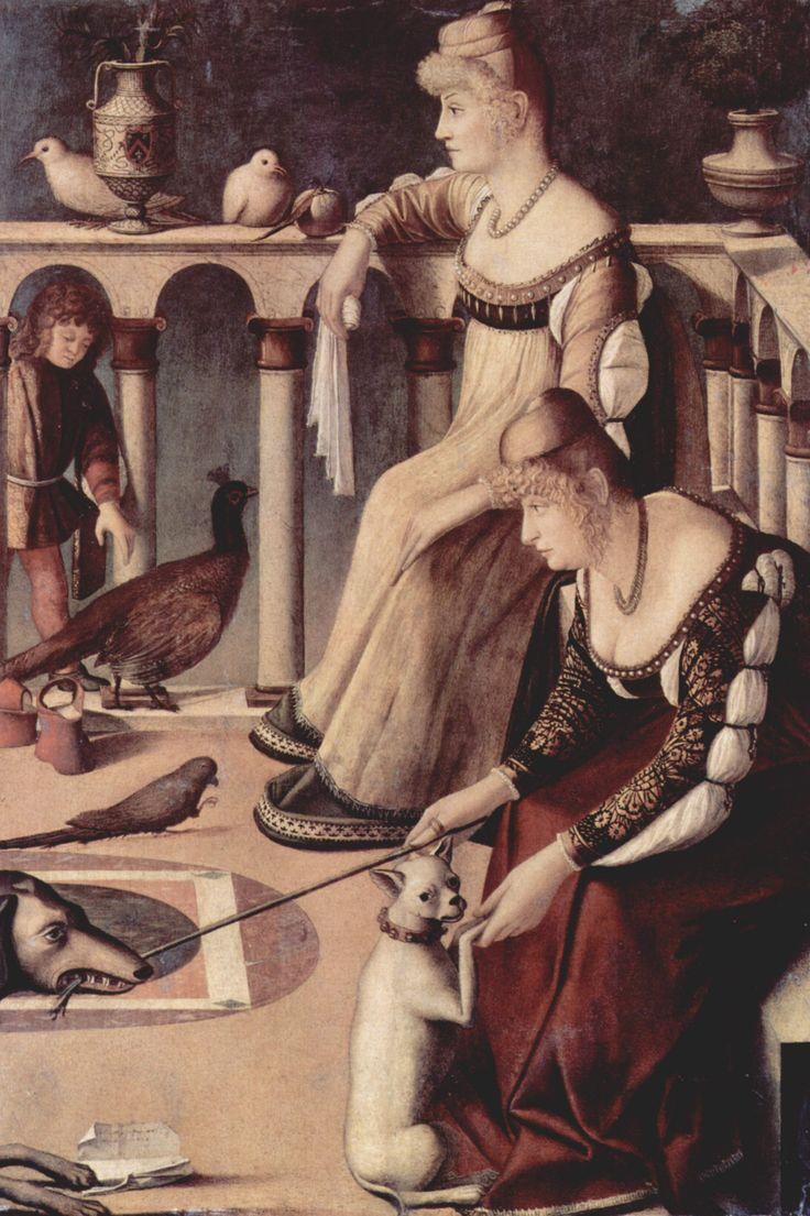 Las cortesanas de Vittore Carpaccio, representa dos mujeres que llevaban postizos en el rizado, pelo peinado hacia la cara. Los vestidos tienen escotes bajos y mangas acuchilladas, que muestran las prendas interiores.