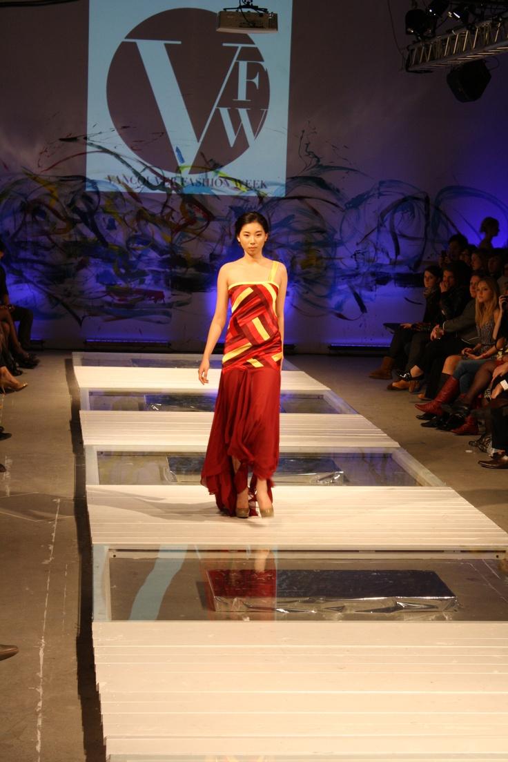 Patchworked satin dress w/ layered chiffon skirt