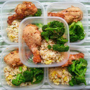The pineapple jalapeno cilantro rice is one of our favourite rice dishes on the site. It's so yummy!  For this meal prep we also added our perfectly steamed broccoli (MBMK style) and baked breaded chicken.