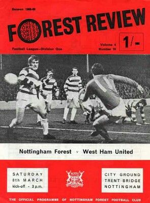 Nottm Forest 0 West Ham 1 in March 1969 at the City Ground. The programme cover #Div1