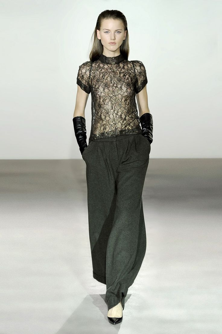 Collette Dinnigan French Metallic Lace High Neck Top and Verdi Sequin Wool Wide Pant