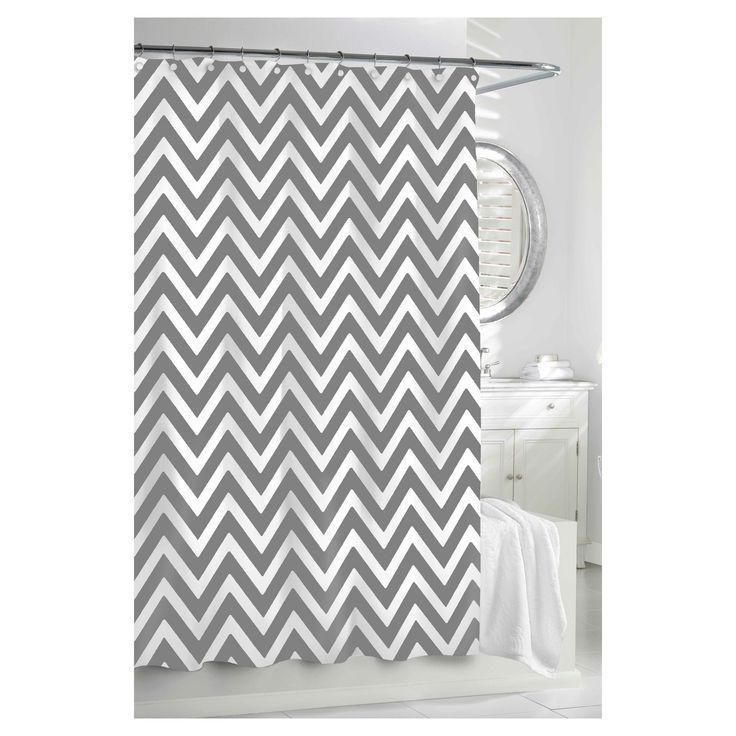 Chevron Shower Curtain Gray/White - Kassatex