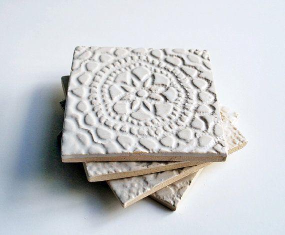 Starfish Coasters Aqua Ceramic Pottery Handmade Tile