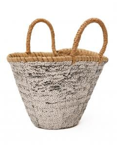 A simple wicker basket with a sparkly finish adds that touch of cheer and fun for the holidays! Also perfect to store your other decorative items.