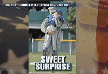 Soldier Surprises Her Little Brother at Ballgame After a Year in Iraq