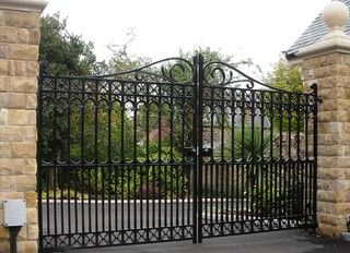 1000 images about custom metal gates and doors by wiemann for Ready made driveway gates