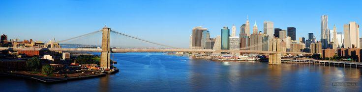 Фотообои Панорамный вид на Бруклинский мост. Нью-Йорк - Достопримечательности - Фотообои на стену