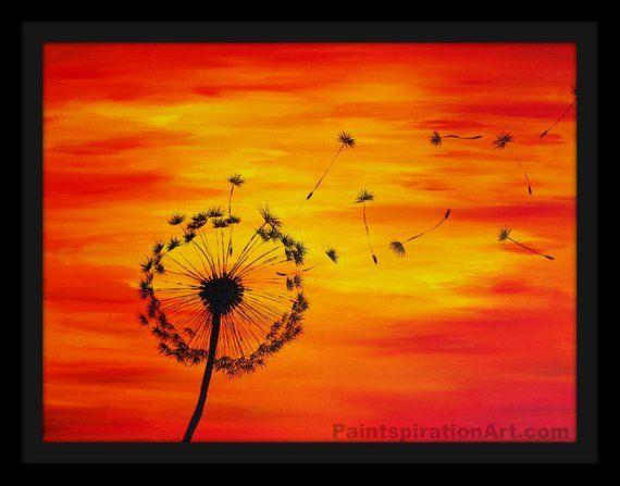 Dandelion Print Sunset Painting Red Orange Yellow
