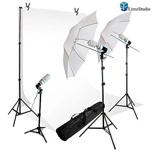 LimoStudio 600 Watt Photography Lighting Light Kit  10 x 10 White Muslin Backdrop Background Photo Portrait Studio 33 Umbrella Continuous Lighting Kit AGG242