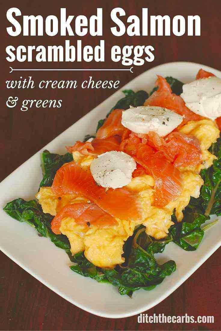 Is this the ultimate LCHF breakfast of champions? LCHF smoked salmon scrambled eggs with cream cheese and leafy greens. | ditchthecarbs.com