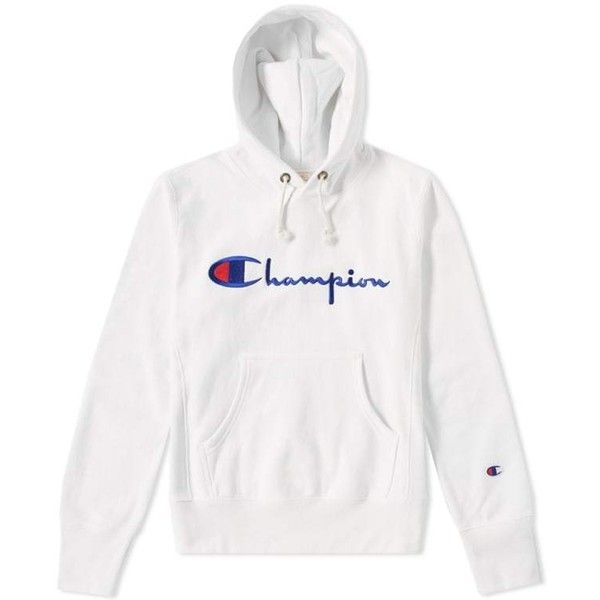 Champion Reverse Weave Script Logo Hoody (White) | END. ($105) ❤ liked on Polyvore featuring tops, hoodies, logo hoodies, white hoodies, hooded pullover, champion hoodies and white hoodie