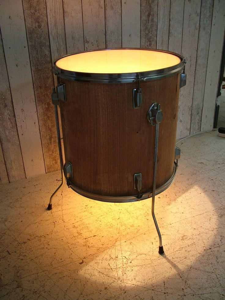 upcycled drum side table coffee table bedside table lamp