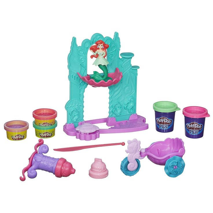 Play-Doh Disney Princess Ariel's Undersea Castle Playset. High quality toys for children all ages. Made using safe materials. Tested for quality and durability. Ariel's Undersea Castle playset lets you decorate castle and Ariel figure. Decorate the Princess Ariel figure's ball gown with Play-Doh Plus compound and Play-Doh Sparkle Compound. Make decorations for the castle with the extruder. Carriage wheels roll and cut. Includes base, castle façade, balcony, doll top, tail attachment…