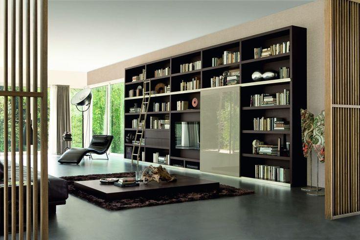 black wood wall bookshelf ideas feat sliding glass door combine in cream paint wall color living room on dark grey floor short dark brown wood coff - Bookcase Design Ideas
