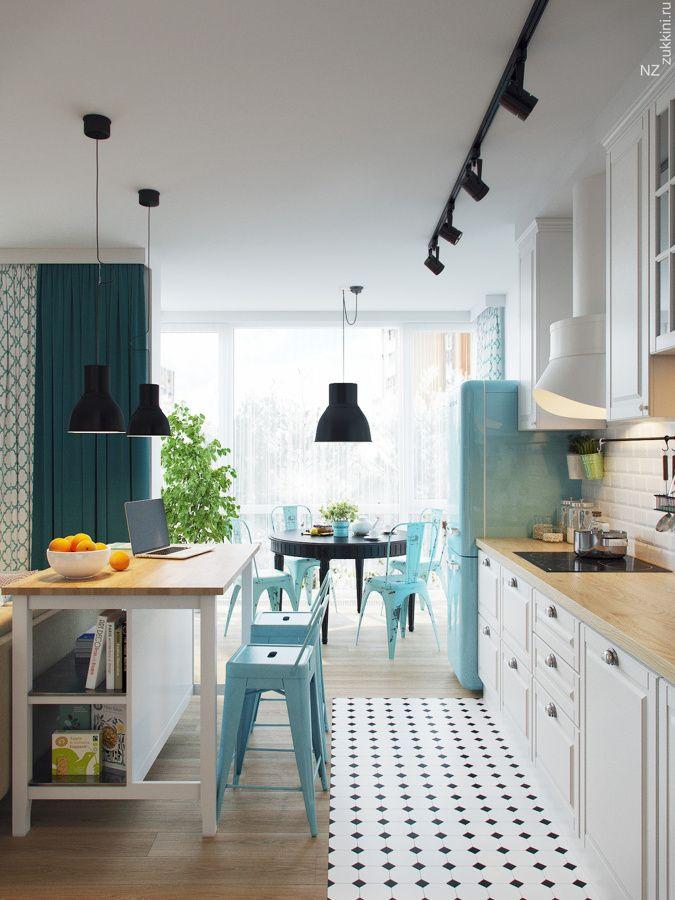 Cocina con isla central en blanco y azul decor en 2019 for Deco de cocina azul blanco