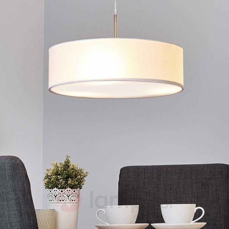Materiałowa lampa wisząca SEBATIN, biała bezpieczne & wygodne zakupy w sklepie internetowym Lampy.pl.